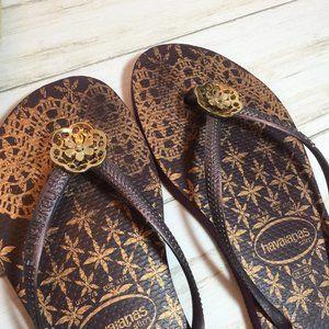Havaianas Slim Purple Gold Floral Sandals Flip 7 8
